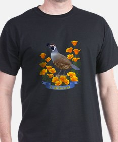 California Quail and Golden Poppy T-Shirt
