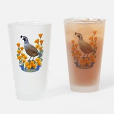 California Quail and Golden Poppy Drinking Glass