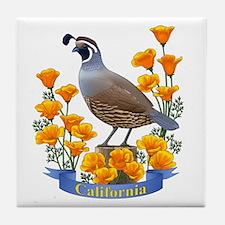 California Quail And Golden Poppy Tile Coaster