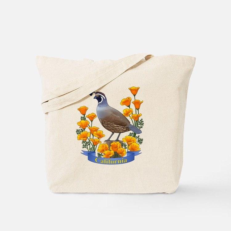 California Quail and Golden Poppy Tote Bag