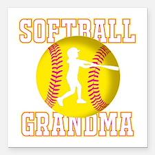 "Softball Grandma - Batter Square Car Magnet 3"" x 3"
