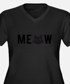 Meow, with black cat face Plus Size T-Shirt