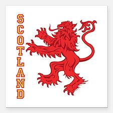 "Lion R Scotland Square Car Magnet 3"" x 3"""