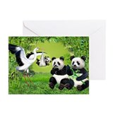 Panda and stork Greeting Cards (10 Pack)