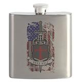 American flag infidel christ Flask Bottles