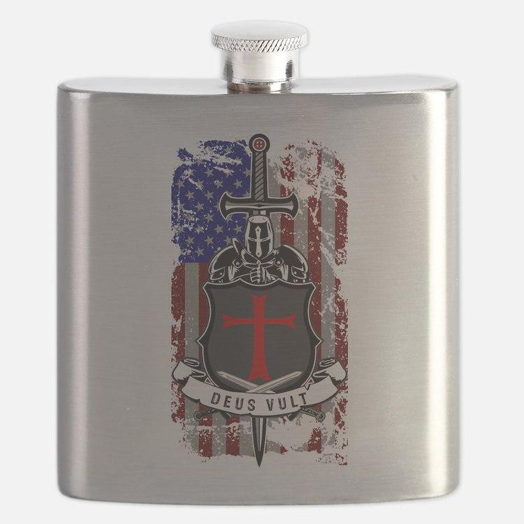 AMERICAN KNIGHT GOD WILLS IT Flask