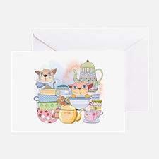 Kittens Tea Time Greeting Card