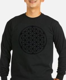 Flower of Life in Black on brown Women's LS Tee Lo