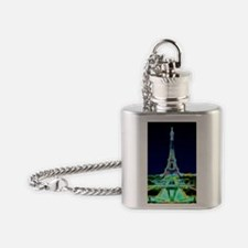 Glowing Eiffel Tower, Paris, France Flask Necklace