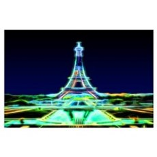 Glowing Eiffel Tower, Paris, France Wall Art Poster
