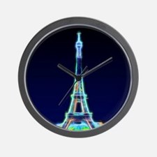 Glowing Eiffel Tower, Paris, France Wall Clock