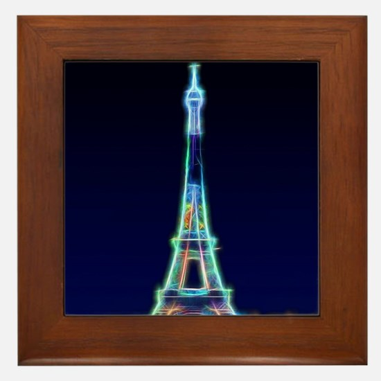 Glowing Eiffel Tower, Paris, France Framed Tile