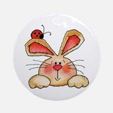 BUNNY EARS AND LADY BUG Round Ornament