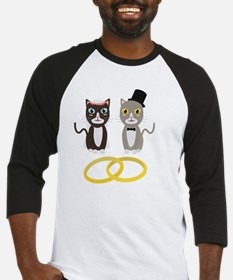 Wedding Cats with Rings Baseball Jersey