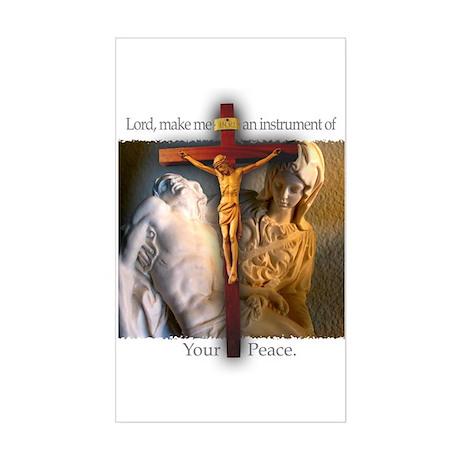 Crucifix/Pieta Rectangle Sticker