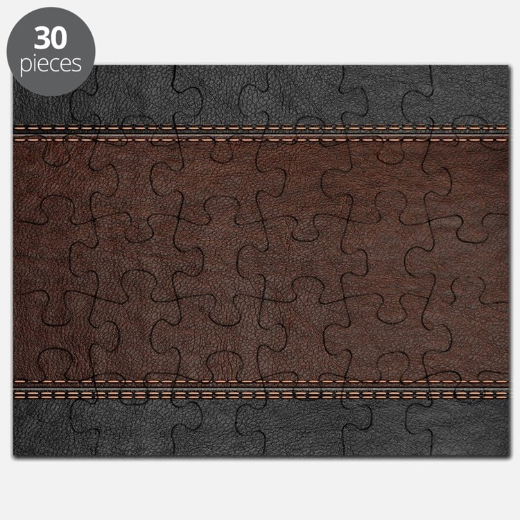 Brow And Black Vintage Leather Look Puzzle