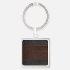 Brow And Black Vintage Leather Look Keychains