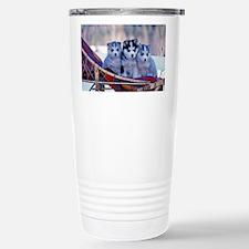 Three Husky Puppies Stainless Steel Travel Mug