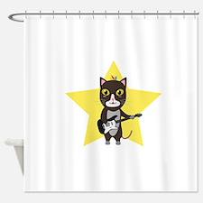 Rock-Music Cat Shower Curtain