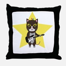 Rock-Music Cat Throw Pillow