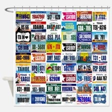 Us Licence Plates Printed Shower Curtain Shower Cu