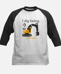 I Dig being 2 Construction Birthday Baseball Jerse
