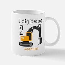 I Dig being 2 Construction Birthday Mugs