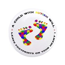 "Footprints on your heart circ 3.5"" Button"