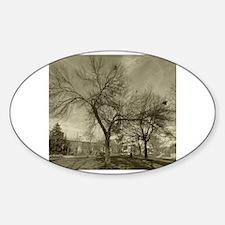 Cute Winter park black Sticker (Oval)
