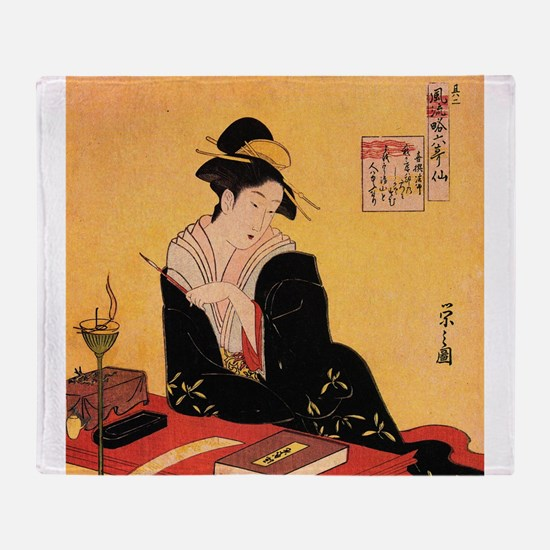 Immortal Poets by Chobunsei Eishi Throw Blanket