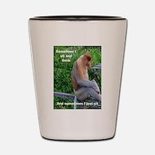 Proboscis Monkey Maybe Thinking Shot Glass