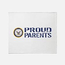 U.S. Navy: Proud Parents (Blue & Whi Throw Blanket