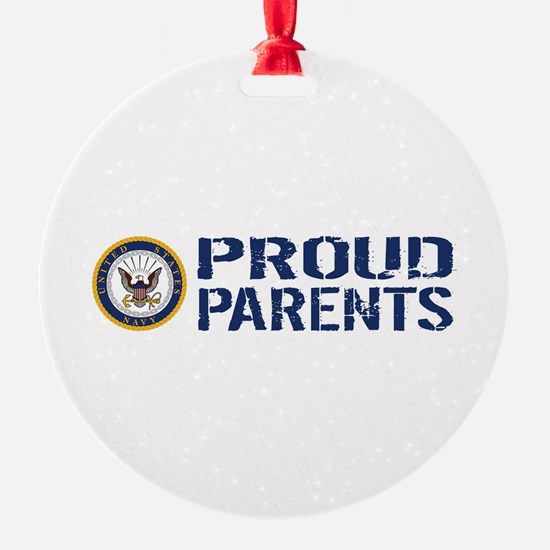 U.S. Navy: Proud Parents (Blue & Wh Ornament