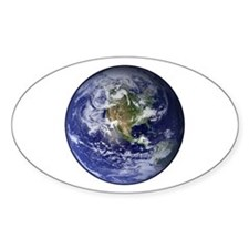 Western Earth from Space Oval Decal