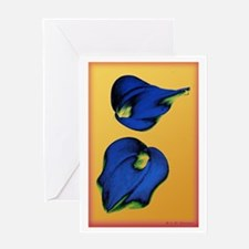 Abstract Calla Lilies in Blue and Gold Greeting Ca