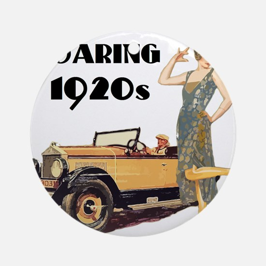 Roaring 20s Flapper and Auto Design Round Ornament