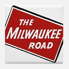 Milwaukee Road logo- slanted Tile Coaster