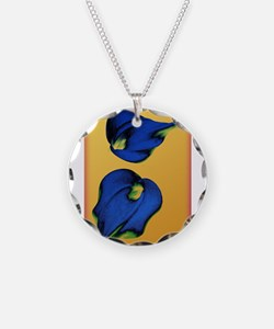 Abstract Calla Lilies in Blue and Gold Necklace
