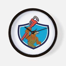 Hawk Plumber Wrench Crest Cartoon Wall Clock