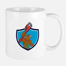 Hawk Plumber Wrench Crest Cartoon Mugs