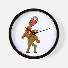 Hawk Plumber Wrench Cartoon Wall Clock