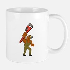 Hawk Plumber Wrench Cartoon Mugs