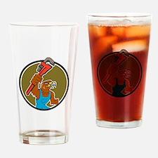 Hawk Plumber Wrench Circle Cartoon Drinking Glass