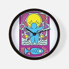 Jesus walking on water Keith Haring ver Wall Clock
