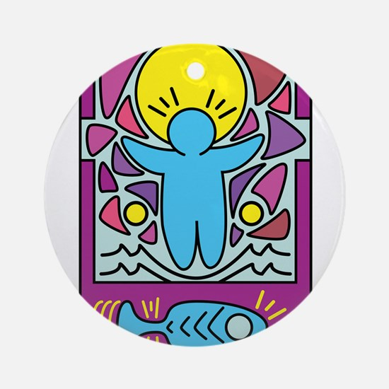 Jesus walking on water Keith Haring Round Ornament
