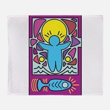Jesus walking on water Keith Haring Throw Blanket
