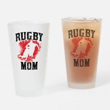 Rugby Mom Drinking Glass