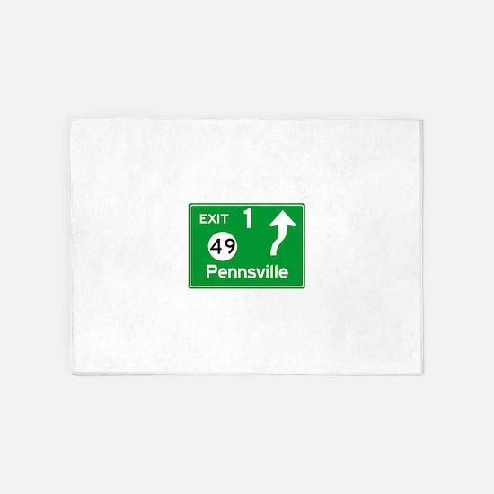 NJTP Logo-free Exit 1 Pennsville 5'x7'Area Rug
