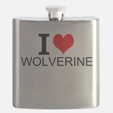 I Love Wolverines Flask