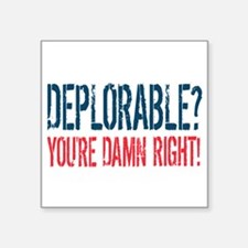 "Deplorable - Damn Right Square Sticker 3"" x 3"""